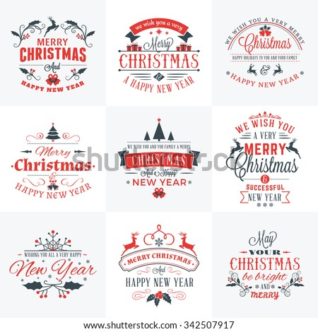 Set of Merry Christmas and Happy New Year Decorative Badges for Greetings Cards or Invitations. Vector Illustration in Red and Gray Colors - stock vector