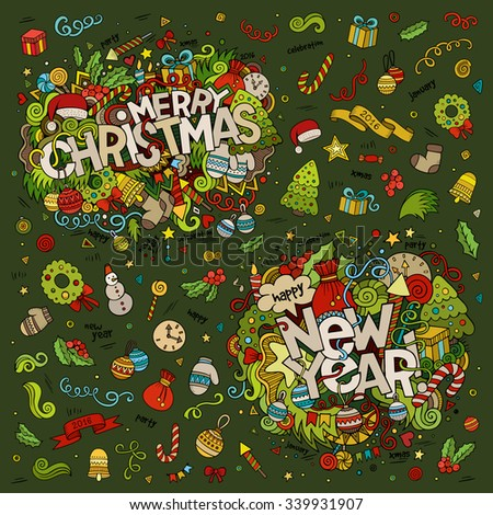 Set of Merry Christmas and New Year hand lettering and doodles elements, symbols & objects background - stock vector