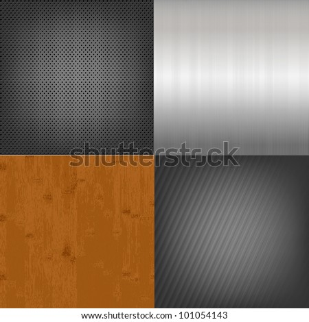 Set Of Metal And Wood Texture Background, Vector Illustration - stock vector
