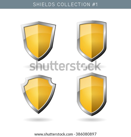 Set of metal orange mediavel shields template on white background. Security symbols. Vector illustration - stock vector