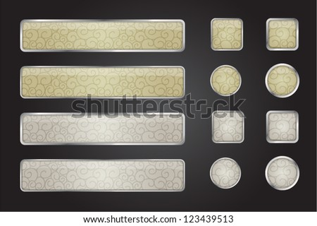 set of metall web button - stock vector