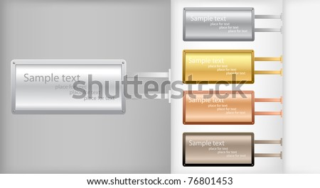 Set of metallic banners.Vector background. - stock vector