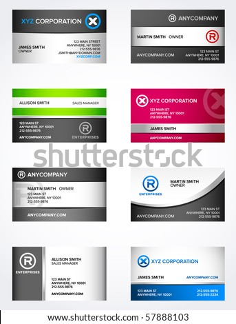 Set of 8 metallic themed business card templates - stock vector
