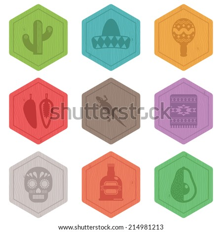 set of Mexican icons on wooden emblems, isolated on white - stock vector