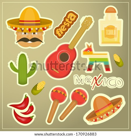 Set of Mexican Icons. Vector Illustration. - stock vector