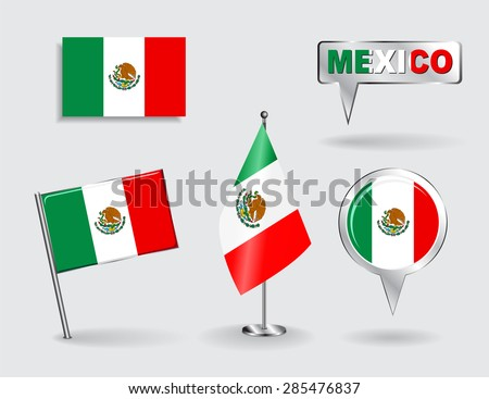 Set of Mexican pin, icon and map pointer flags. Vector illustration. - stock vector