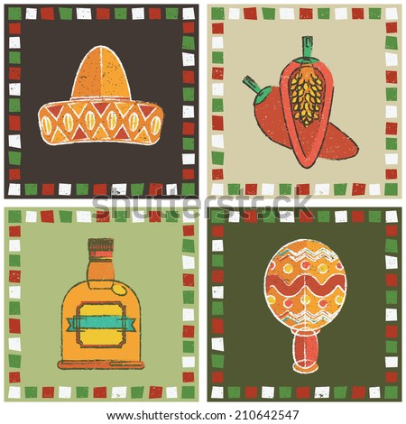 set of mexican style frames with sombrero, chili pepper, tequila and maraca decorations - stock vector
