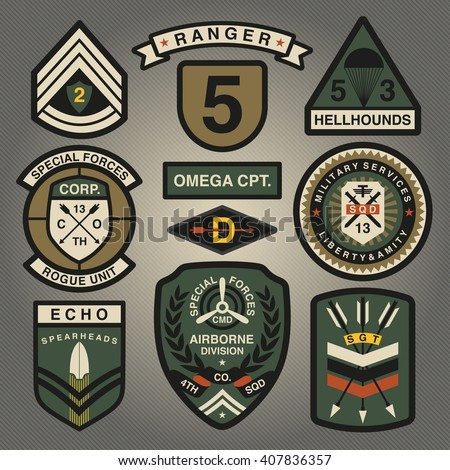 Set Of Military and Army Patches and Badges 2 - stock vector