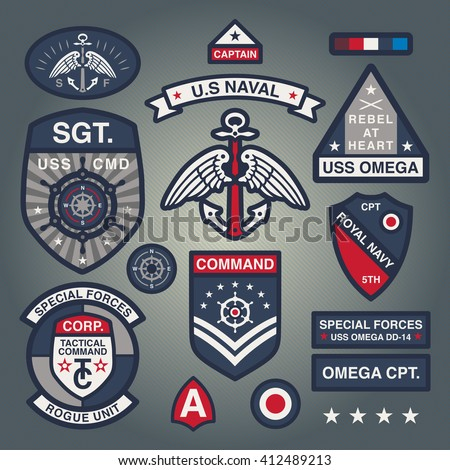 Set Of Military and Army Patches and Badges in Naval style 1 - stock vector