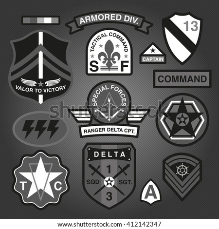 Set Of Military and Army Patches and Badges Monochrome 3  - stock vector