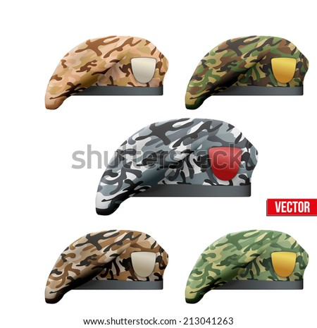 Set of Military Beret with camouflage texture of Army Special Forces. Vector Illustration Isolated on white background. - stock vector