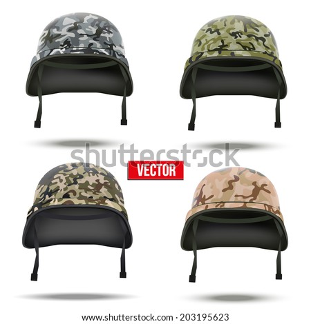 Set of Military camouflage helmets Vector Illustration. Army symbol of defense. Isolated on white background. - stock vector
