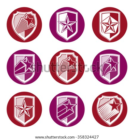Set of military forces heraldry emblems. Detailed shields with pentagonal star, vector sheriff decorative blazon.  - stock vector