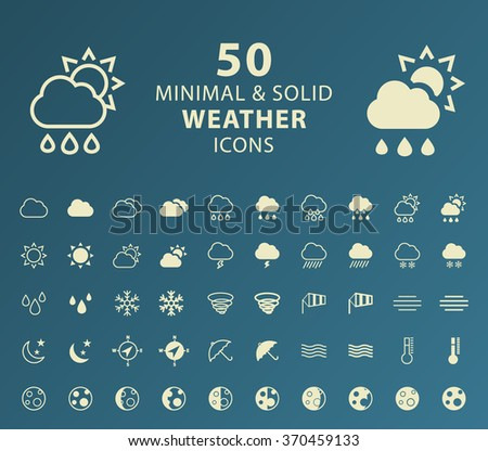 Set of 50 Minimal and Solid Weather Icons. Vector Isolated Elements. - stock vector