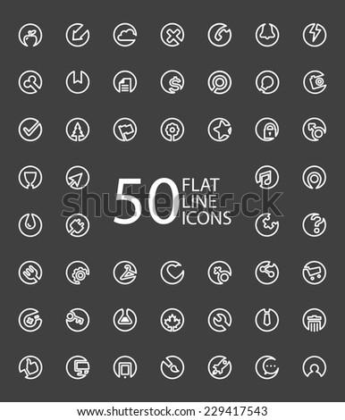 Set Of 50 Minimal Flat Line Icons (Business, Multimedia, Communication, Ecology, Education, Medical, Shopping) - stock vector