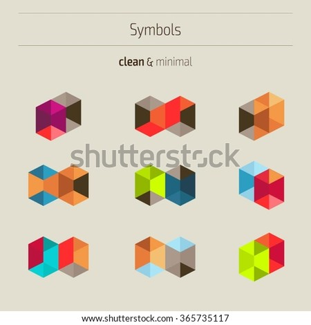 Set of minimal geometric colorful symbols. Trendy hipster icons and logotypes. Geometric, polygon, low poly shapes, polyhedron collection. Business signs, labels, badges, frames and borders - stock vector