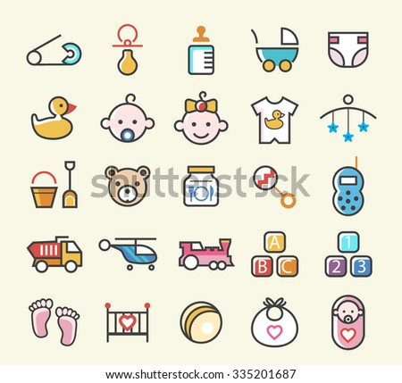 Set of 25 Minimal Solid Line Colored Baby Icons. Isolated Vector Elements. - stock vector