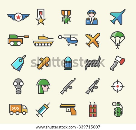 Set of 25 Minimal Solid Thin Line Colored War Icons. Isolated Vector Elements. - stock vector