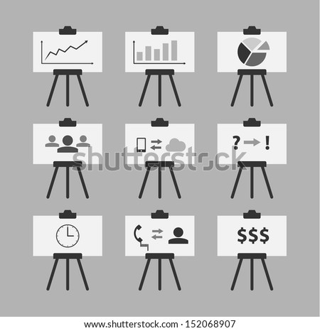 Set of 9 Minimal Style Standing Presenters - stock vector