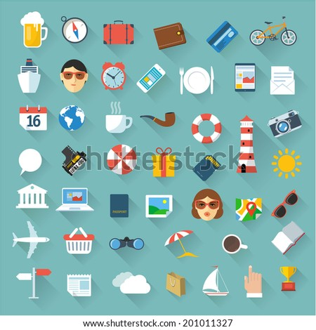 Set of 49 minimal travel map icons. Vector. - stock vector