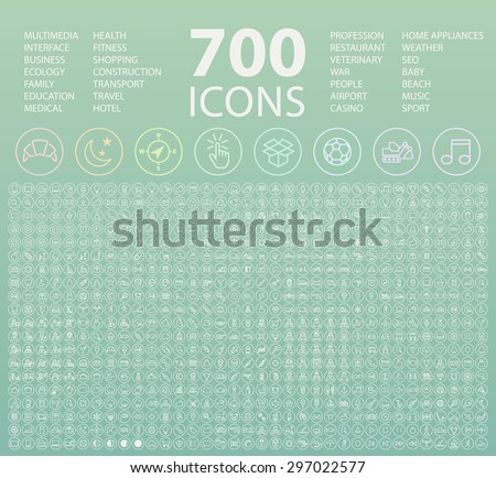 Set of 700 Minimal Universal Isolated Modern Elegant White Thin Line Icons on Circular Buttons on Colour Background. - stock vector
