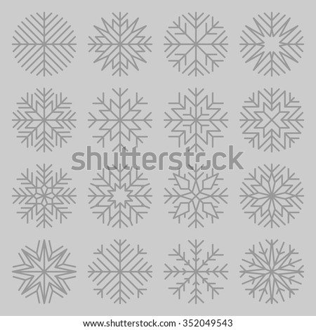 set of minimalist snowflakes on grey background - stock vector
