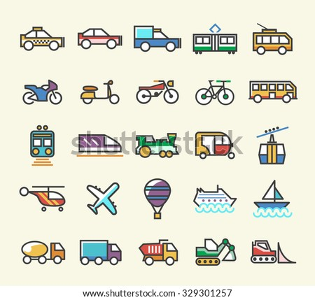 Set of 25 Minimalistic Solid Line Coloured Transport Icons. Isolated Vector Elements. - stock vector