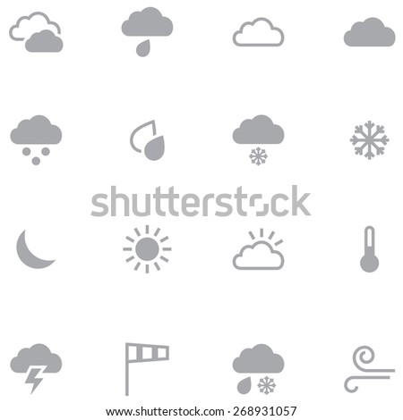 Set of minimalistic weather icons for web and mobile applications. Neutral gray color is ideal for any design. - stock vector