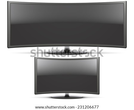 Set of Mock Up Frontal view of big and classic curved wide screen led or LCD TV monitor. Vector Illustration isolated on white - stock vector