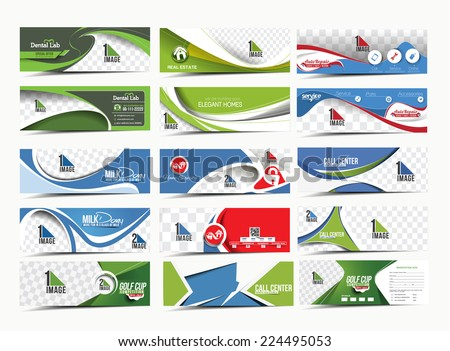 Set of Modern Abstract Business Banner Template  - stock vector