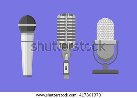 Set of modern and retro microphones. Flat style vector illustration. - stock vector