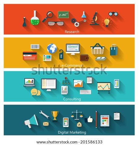 Set of modern banners in flat design with long shadows and trendy colors for web, book covers, corporate brochures, logos, mobile applications, business, social networks etc. Vector eps10 illustration - stock vector