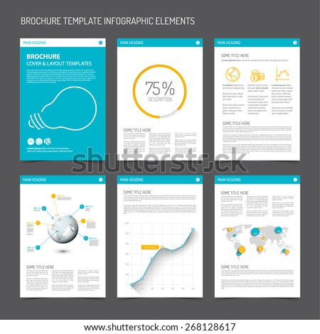 Set of modern brochure flyer design templates with graphs, charts and other infographic elements - blue and orange version - stock vector