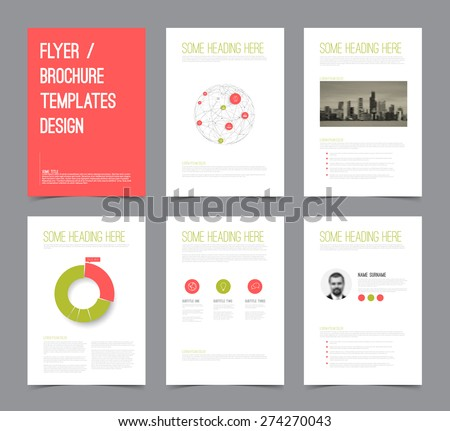 Set of modern brochure flyer design templates with graphs, charts and other infographic elements - red  and green version - stock vector