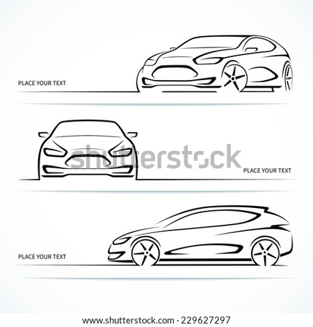 Set of modern car silhouettes. Abstract automobile outlines isolated on white background. Vector illustration - stock vector