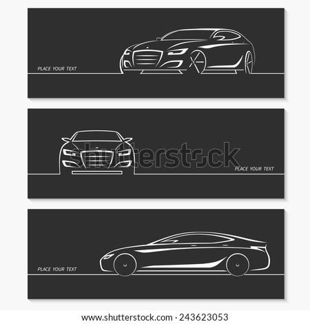 Set of modern car silhouettes. Luxury sedan in three angles. Vector illustration - stock vector