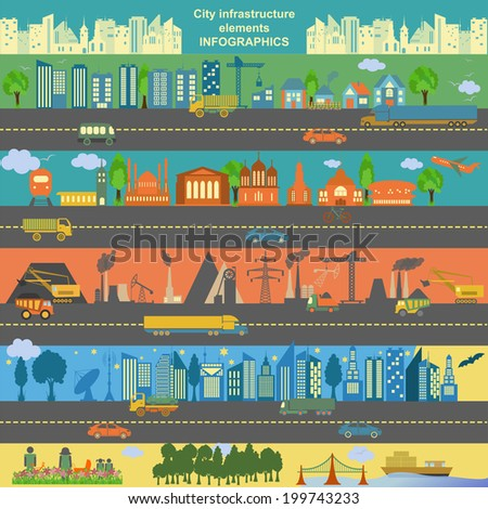 Set of modern city elements for creating your own maps of the city. Infographics. Vector illustration - stock vector