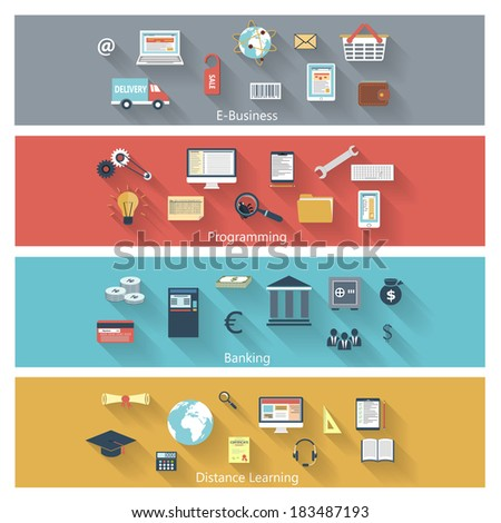 Set of modern concepts in flat design with long shadows and trendy colors for e-business, web, mobile applications, distance learning, banking, programming etc. Vector eps10 illustration - stock vector