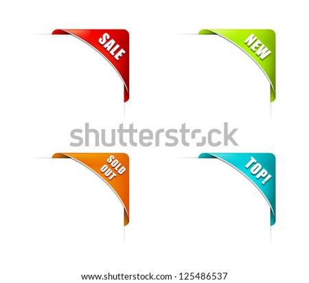 Set of Modern Corner Business Ribbons - stock vector
