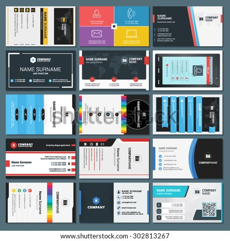 Set of Modern Creative and Clean Business Card Templates - stock vector