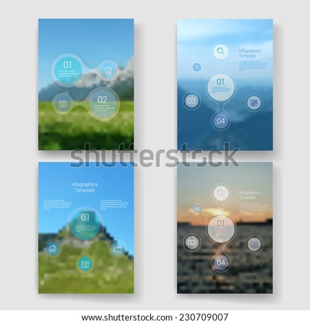 Set of modern Design Minimal style infographic template layout. Infographics, graphic or website layout vector with icons on blurred background. Landscape background.  - stock vector
