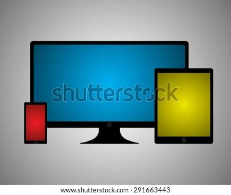 Set of Modern Digital devices, color full screen, Vector illustration EPS10 - stock vector