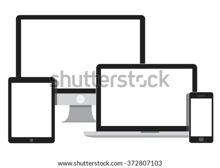 Set of Modern Digital devices vector flat illustration. Laptop device, tablet PC, mobile phone. - stock vector