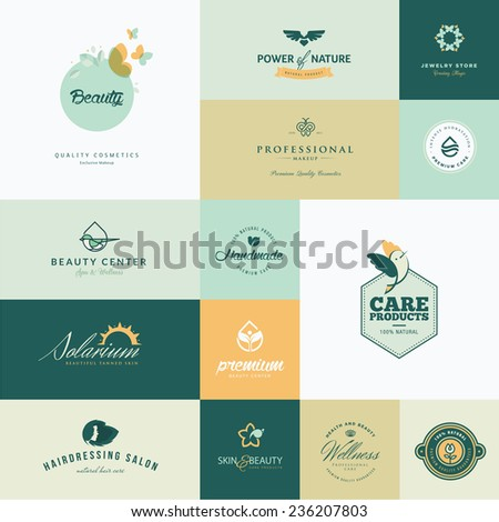 Set of modern flat design beauty icons     - stock vector