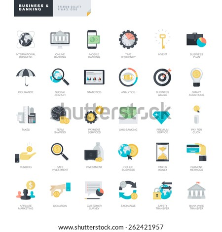Set of modern flat design business and banking icons for graphic and web designers    - stock vector
