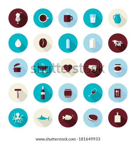 Set of modern flat design icons for food and drink. Icons for coffee, milk, meat, wine, seafood, for restaurant and food producer. - stock vector