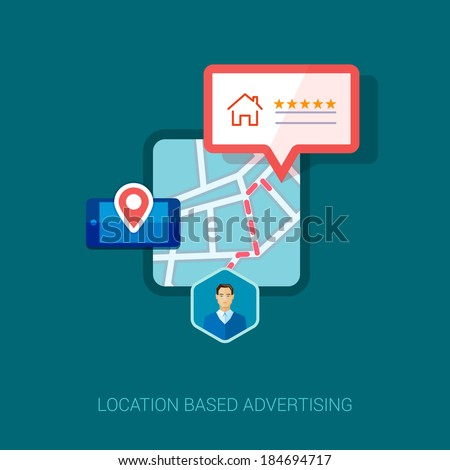 Set of modern flat design icons for mobile or smartphone location based advertising. Place check-in, hotel, restaurant or other place social rating and context ads concept vector illustration. - stock vector