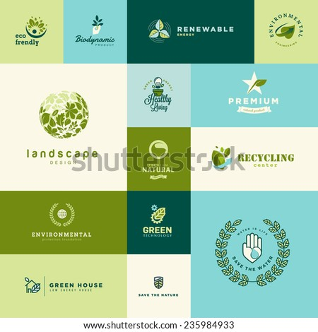 Set of modern flat design nature and technology icons - stock vector