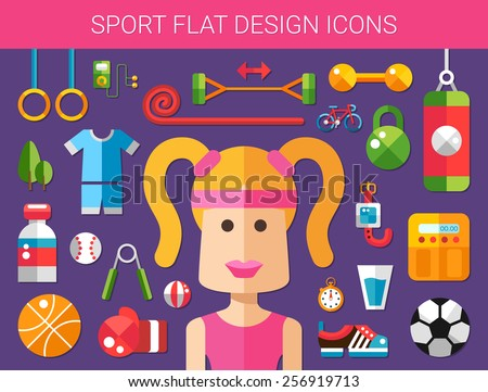 Set of modern flat design sport, fitness and healthy lifestyle vector icons - stock vector