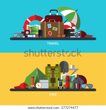 Set of modern flat design vector illustrations of tourism, traveling, camping, hiking. Vacation and holidays. Passenger luggage and travel items. Hiking equipment - stock vector